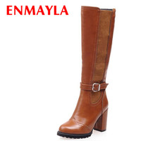 ENMAYLA Knee High Boots New Round Toe Buckle Square heel High Boots Big Size Soft Leather Winter Long Boots Platform Women Boots
