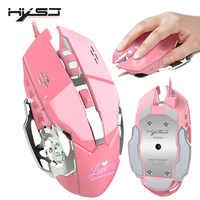 HXSJ nouveau mode souris filaire 3200 DPI bureau souris rose jeu adapté pour ordinateur portable PC blanc rétro-éclairage souris de jeu