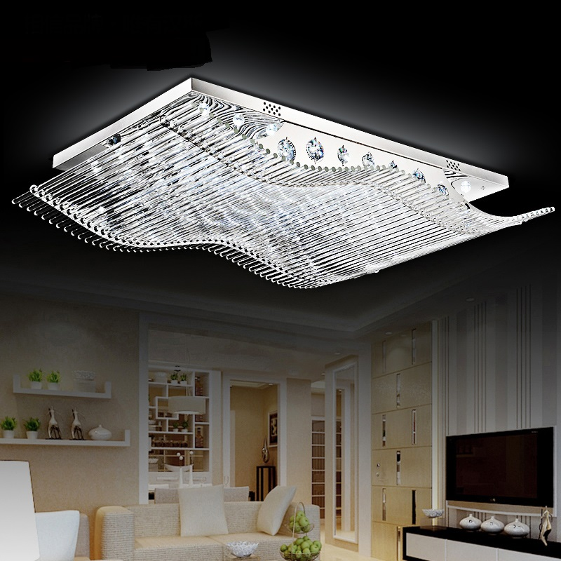Rectangle LED ceiling lights for living room dining-room bedroom lamps atmospheric crystal Ceiling lamps Crystal combination za