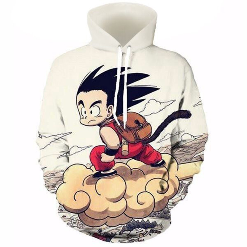 Cloudstyle Dragon Ball 3D Anime Hoodies Lelaki Kid Goku 3D Print Hat Sweatshirts Pullovers Long Sleeve Tops Streetwear Tracksuit