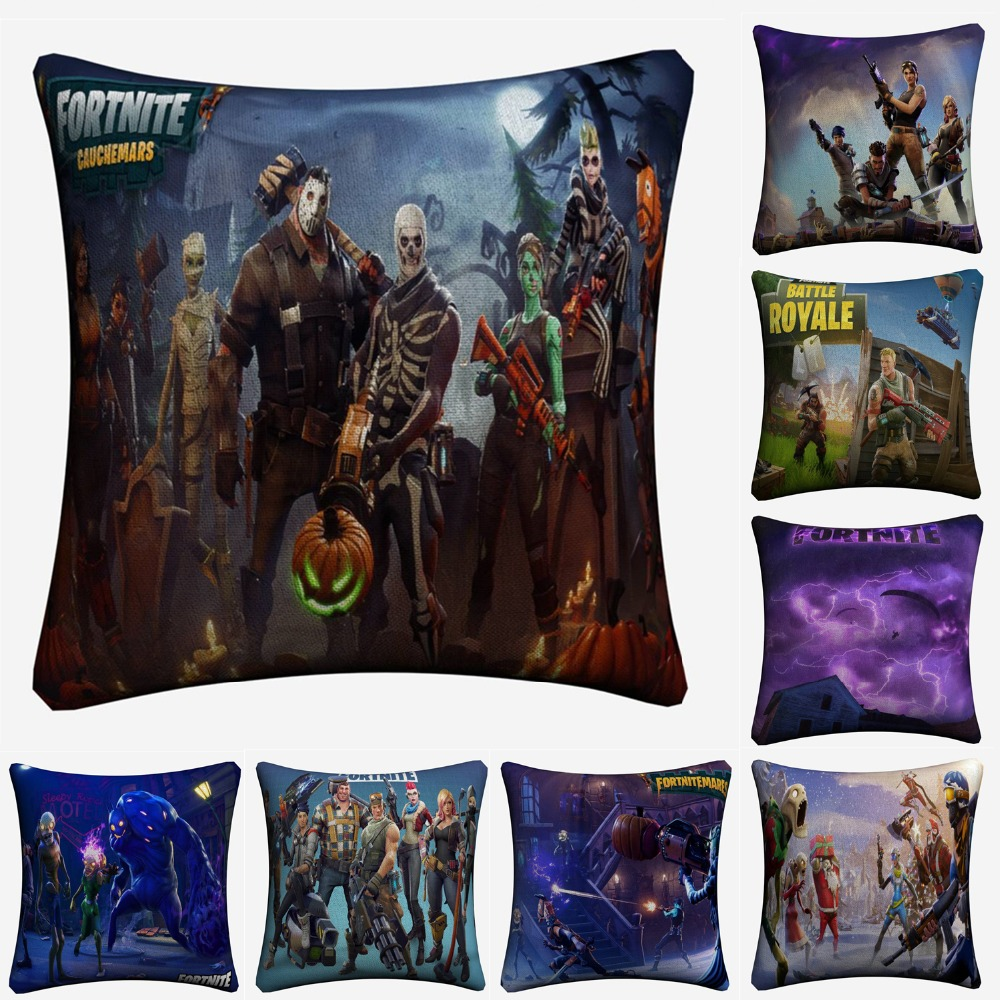 pillow decorative for sofa copper pipe table fortnite 3d battle royale game linen cushion ...