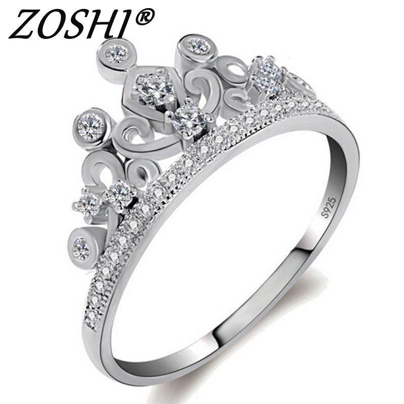 Big Promotion! Luxury Geniune 925 Sterling Silver Wedding Engagement Rings Super Shiny Cubic Zirconia Jewelry For Bridal