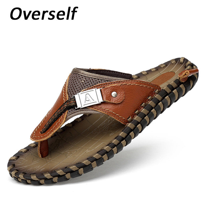 New Handmade Sandals Summer Shoes For Men Genuine Leather Fashion Footwear Plus Big Size 4647 Beach Slides Male Slippers Zapatos