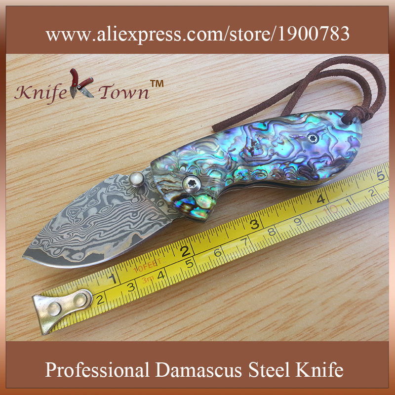 DS002 portable damascus steel abalone color shell handle font b pocket b font font b knife