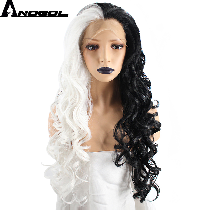 Anogol High Temperature Fiber Perruque Half White Ombre Black Long Deep Wave Synthetic Lace Front Wig For Drag Queen Costume