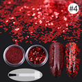 1 Set 2 Boxes Nail Sequins and Glitter Powder Paillette with Brush Manicure Red Black Purple Nail Art Decoration 6 Colors