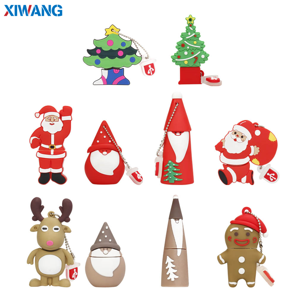 XIWANG USB Flash Drive 128GB Pendrive Cartoon Snowman Christmas Tree Gifts 64GB 32GB 16GB 8GB 4GB Elk Deer Santa Claus Pen Drive