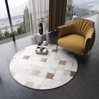 American style Round shaped natural cowhide patchwork rug , beige fur carpet for living room bedroom decoration fur mat