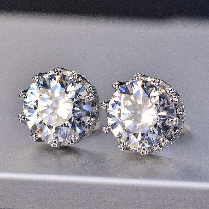 Crown Stud Earrings Fashion Designer Hip Hop Jewelry For Men Women Gifts AAA Zircon Round Earring