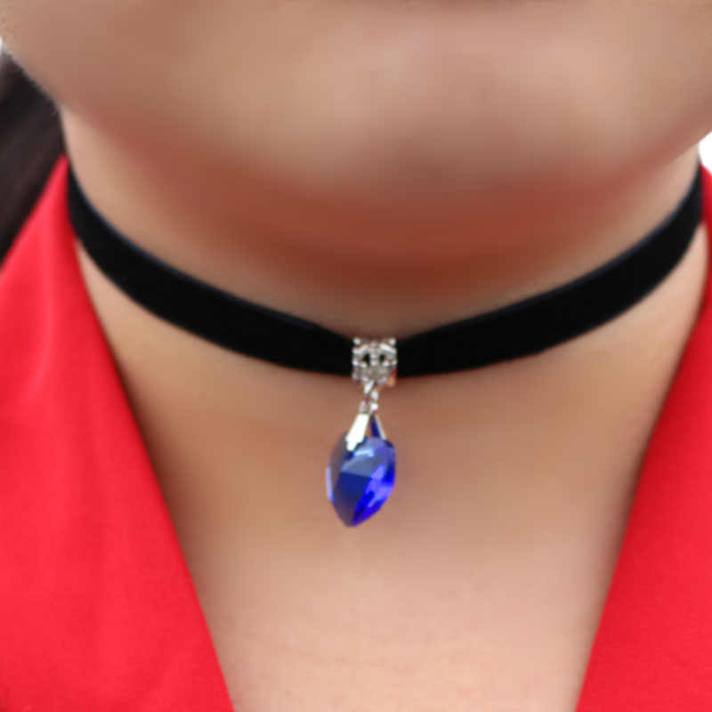 1 個ラブハートガラスペンダント女性ガールジュエリーファッションネックレスゴシックテリレンチョーカーネックレス 7 色