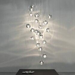 Loft w stylu nordyckim LED kryształowa lampa wisząca oświetlenie duża restauracja hotelowa schody lampy wiszące salon lampy Cristal Luminaria w Wiszące lampki od Lampy i oświetlenie na