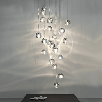 Nordic Loft LED Crystal Hanging Lamp Lighting Large Hotel Restaurant Staircase Pendant Lamps Living Room Cristal Lamps Luminaria