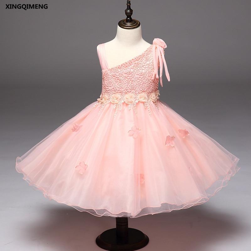 In Stock Pink Flower Girl Dress For Weddings 2 10y Cheap Simple Formal Dress For Little Girls Short