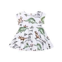 6M-5Y Toddler Baby Kid Girls Dinosaur Dress Summer  Short Sleeve Party Birthday Dresses Casual Costumes