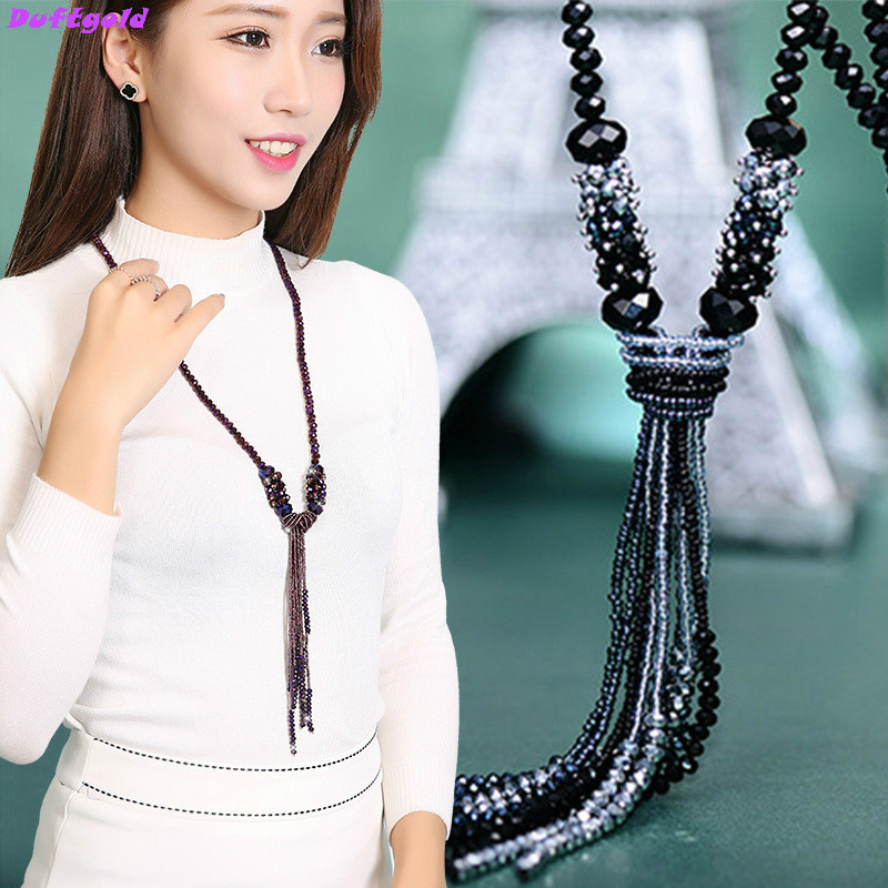 Boho Bohemian Long Crystal Necklace with Pendant Knot Bow Ti