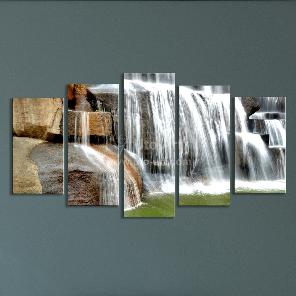 Wall Art Frames modern multiple panel wall art painting waterfall picture 5 panels