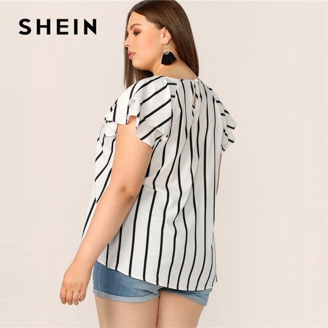 SHEIN Plus Size White Striped V Cut Front Layered Flutter Raglan Sleeve Top Women Summer Elegant Cut Out Butterfly Sleeve Shirt 1