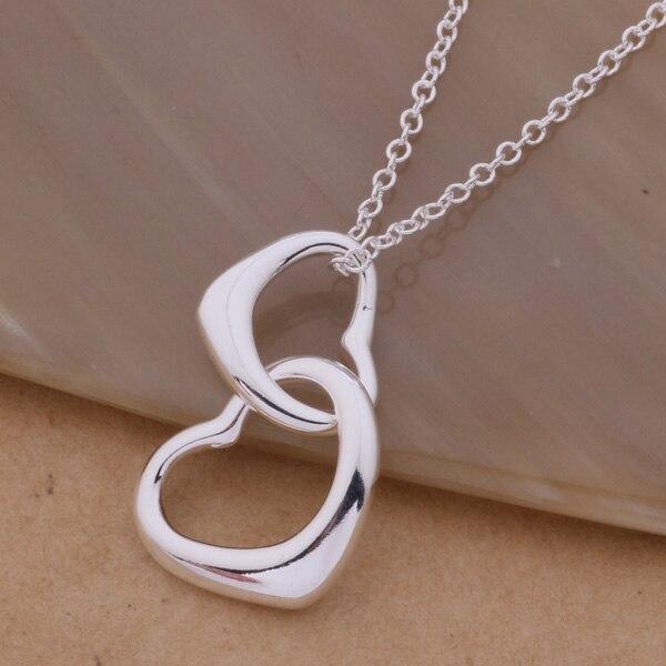 014e7600c768 AN235 de plata al por mayor collar de plata 925 joyería de moda colgante de  dos corazones se bicajzja bocakfja
