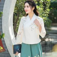 Hanfu 2018 women traditional Chinese clothing ethnic original three quarter sleeve v neck embroidery linen blouse shirt AF539(China)