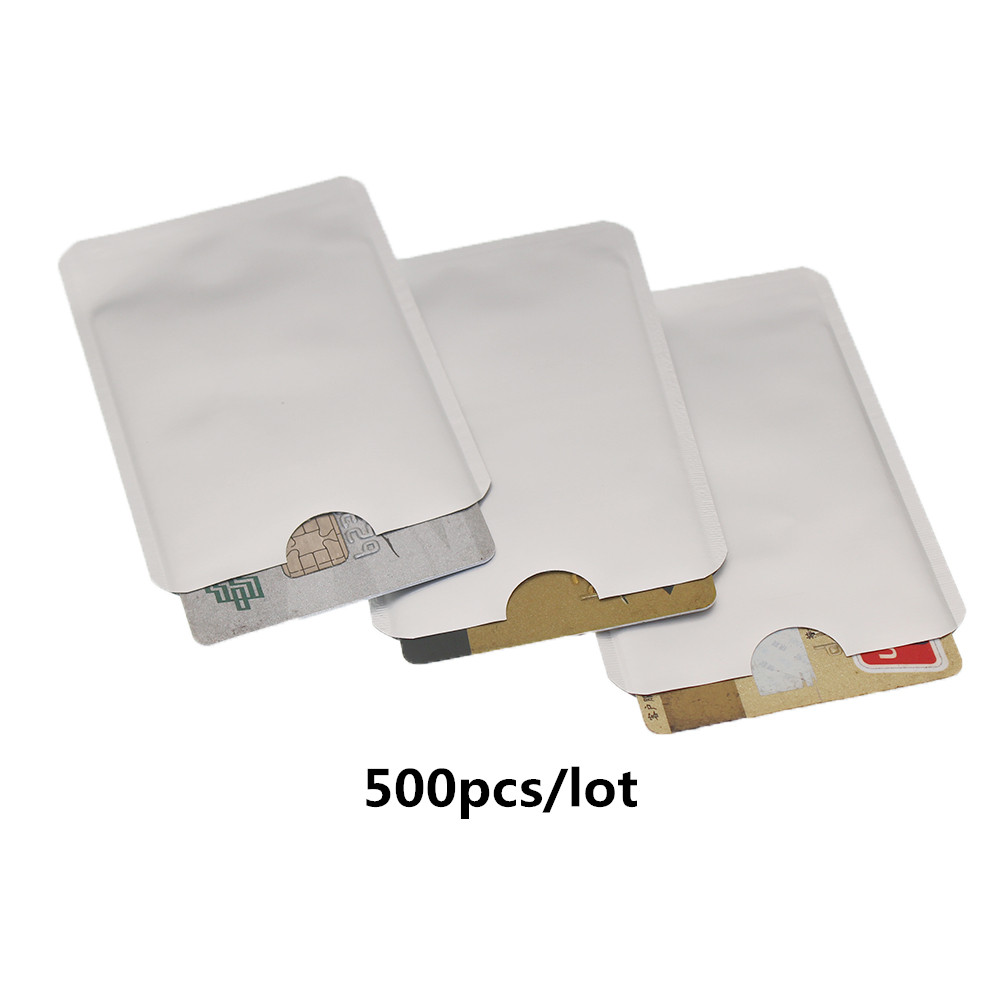 500pcs/lot Anti Scan RFID Blocking Sleeve For Credit Card Secure Identity ATM Debit Contactless IC ID Card Protector Blocker