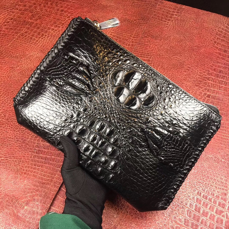 Besorgt Echtem Krokodil Klaue Designer Männlichen Dünne Kupplungen Exotische Alligator Leder Zipper Verschluss Strick Grenze Männer Der Wristlets Geldbörse