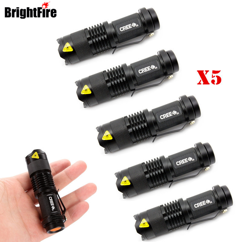 Wholesale 5 Pcs CREE Mini 3 Mode Waterproof LED Flashlight Portable Lights Zoomable Torch Light 2017 new smtvek mini portable xml cree q5 torch waterproof 3 modes zoomable led flashlight torch light for 14500 or aaa