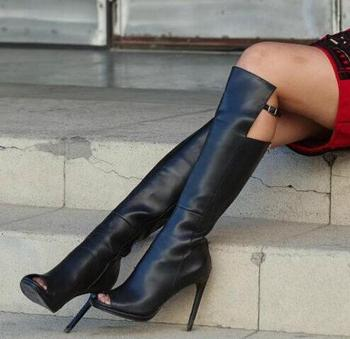 Fashion Black Leather Women Peep Toe Knee High Boots Zipper Back Knee Buckles Ladies High Heel Boots Knight Style Female Boots