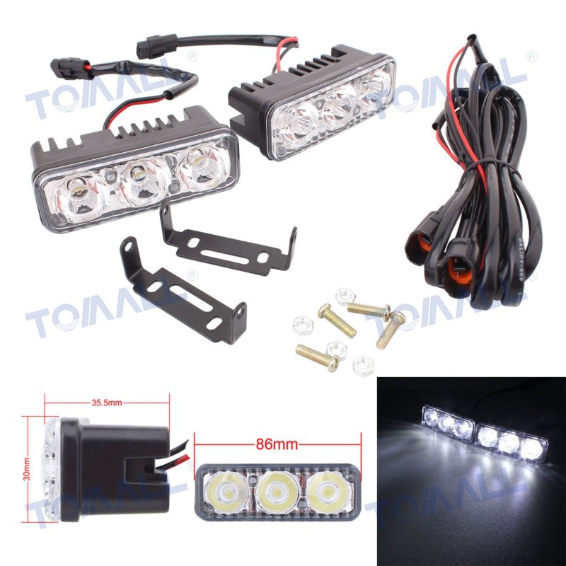 3.4 inch 18W/pair 3-LED Car Daytime Running Light DRL / Headlights / Fog Lamp White Light 12V qvvcev 2pcs new car led fog lamps 60w 9005 hb3 auto foglight drl headlight daytime running light lamp bulb pure white dc12v
