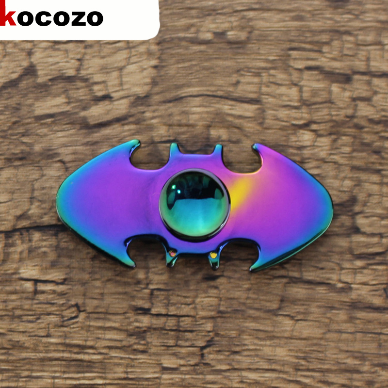 Fashion Colorful Fidget Spinner Bat Shape 2017 New Metal Tri spinner EDC Toys For Autism and