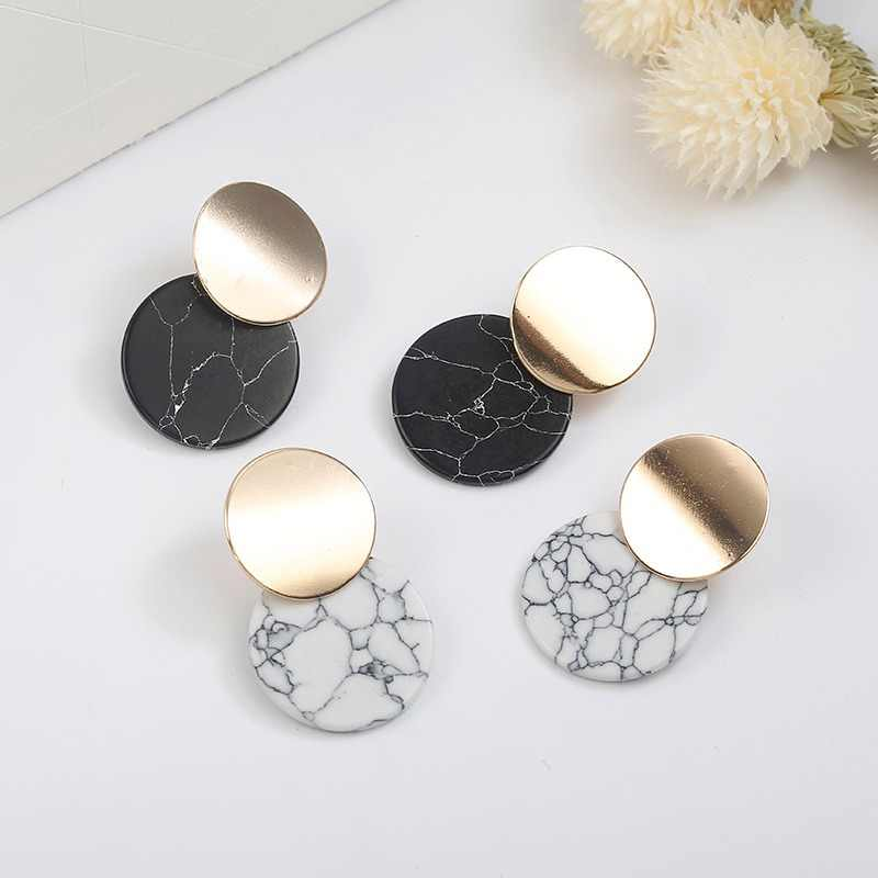 Fashion Bohemian Minimalist Jewelry Double Round Geometric Earrings For Women Stone Circle Earrings White Black Stud Earrings