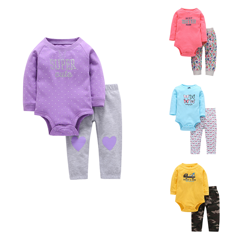 2018 New Baby 2 pieces clothing set for Autumn and Spring Bebes Soft Cotton Long Sleeve Bodysuit Pants Suits Infant Sets