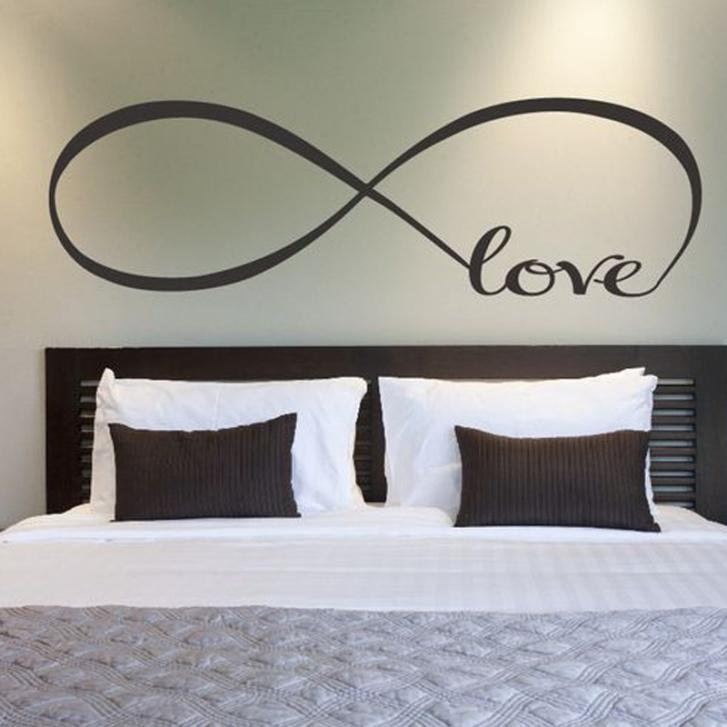 Personalized Bedroom Wall Decals 22*60CM Bedroom Wall Stickers Decor  Infinity Symbol Word Love Vinyl Art Wall sticker Decals