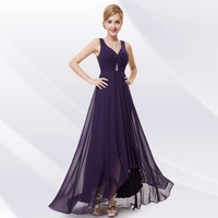 Free Shipping 09983 Double V Neck Rhinestones Ruched Bust High Low Black Chiffon Evening Dress