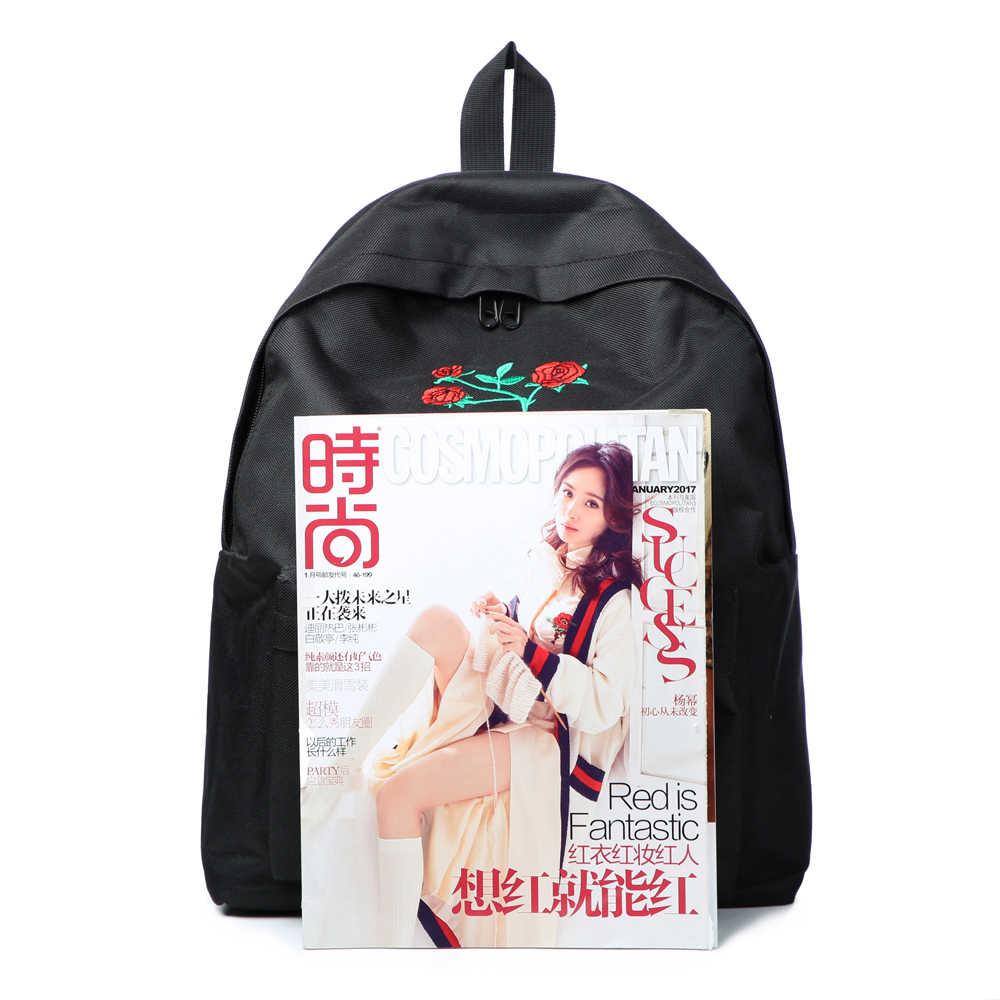 ירח עץ Harajuku תרמיל עלה רקמה שחור נשים נסיעות תרמיל סטודנטים בד כפול כתף תיק המוצ 'ילה M627