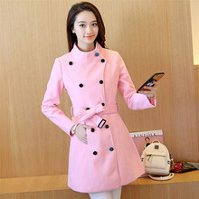 Winter Candy Color Coat Women Fashion Harajuku Woolen Coats OL Solid Double Breasted Overcoat Slim Outerwear Trench C8125