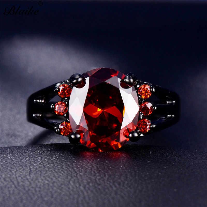 Blaike Sang Trọng Hình Bầu Dục Màu Đỏ Zircon Đá Vành Đai Đối Với Phụ Nữ Người Đàn Ông Quyến Rũ Vòng Pha Lê Black Gold Filled Wedding Engagement Ring Quà Tặng