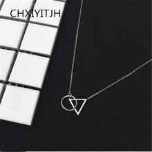 925 Sterling silver Pendant necklace Triangle circular connection wholesale Women fashion jewelry
