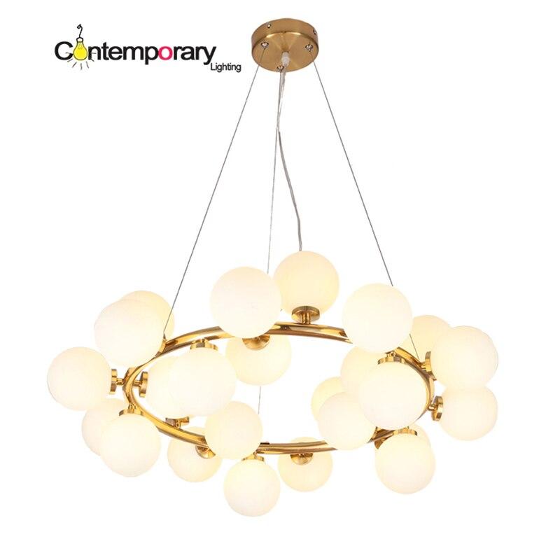 ДНК Лофт новая подвеска светлое золото круговой белое стекло Modo подвесной светильник для ресторана спальня детская кухня Декор