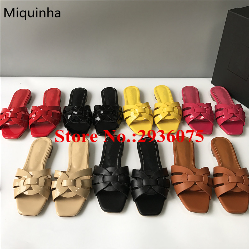 ФОТО Summer Chaussure Femme Candy Color Casual Flats Slipper Crossover Slip-On Cut-Outs Mules Street Style Slides Sexy Shoes Woman