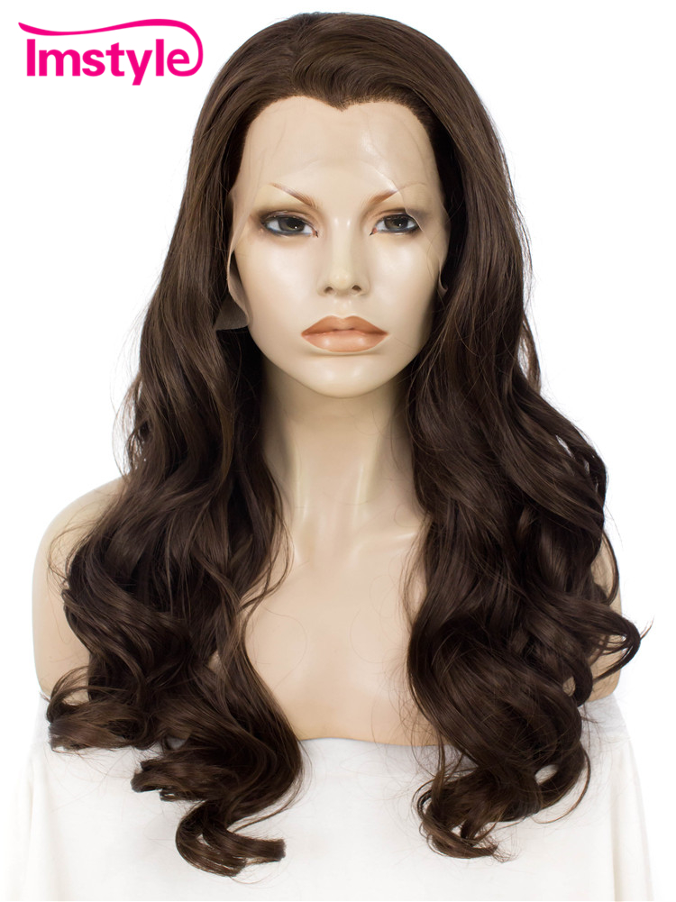Imstyle Deep Wave chestnut brown 24 inches Synthetic heat resistant fake hair Lace Front Wigs for women