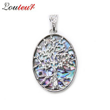 Louleur Fashion Hollow out Life Tree Natural Mother of Pearl Bobe Shell Pendant for Necklace Pendant Jewelry Findings Making women jewelry natural pearl crystal light pink purple 5 flowers pendant shell mother of pearl necklace black leather 18