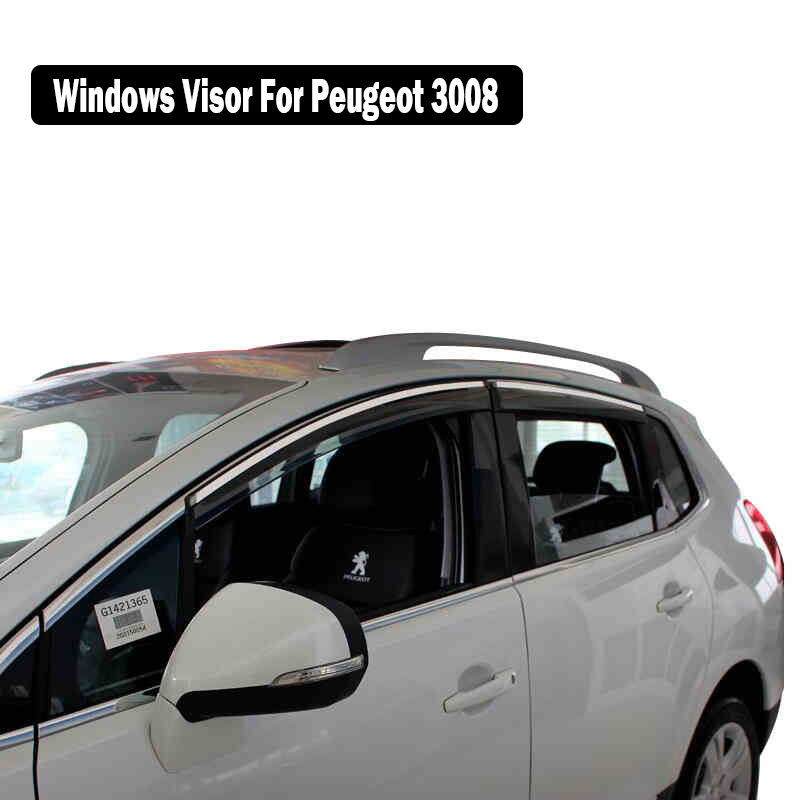 Windows Visor For Peugeot 3008 2013 2018 Sun Rain Protection Shield Cover Car Stylingg Awnings Shelters 4PCS