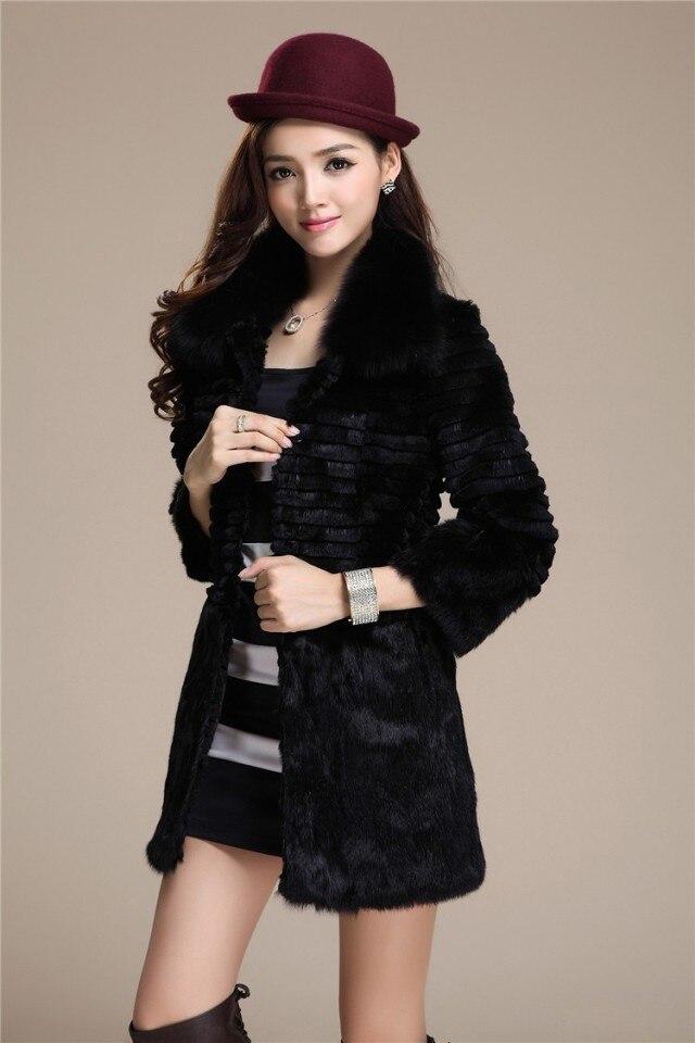 Free shipping new Genuine Rabbit Fur Coat with fox fur collar Women Long full pelt rabbit fur jacket winter fur big size 4XL