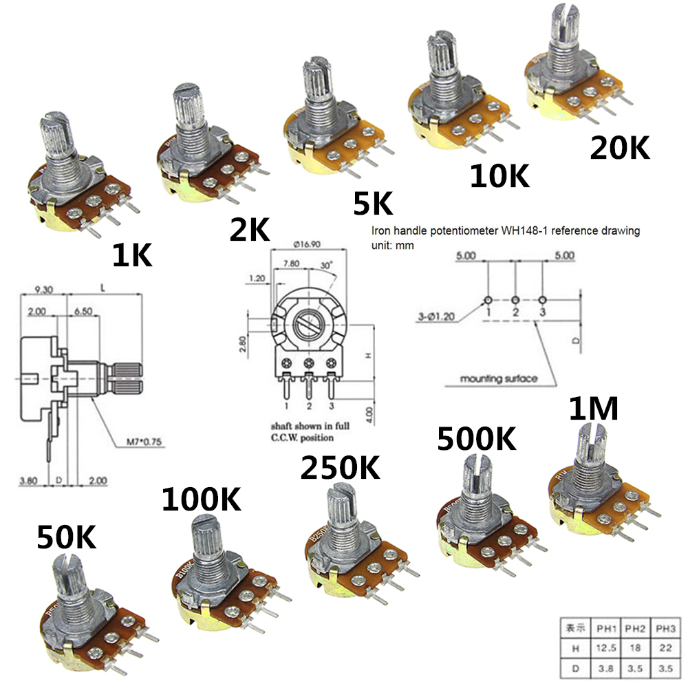 10pcs Wh148 Linear Potentiometer B1k B2k B5k B10k B20k B50k B100k But Of Course The Two Resistors Are Pins B250k B500k B1m 15mm Shaft With Nuts Washers 3pin
