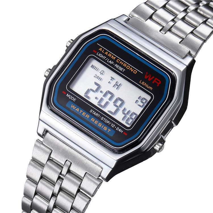 Digital stainless steel watches Led men's Sports Watch Fashion luminous F91W ultra-thin wristwatch