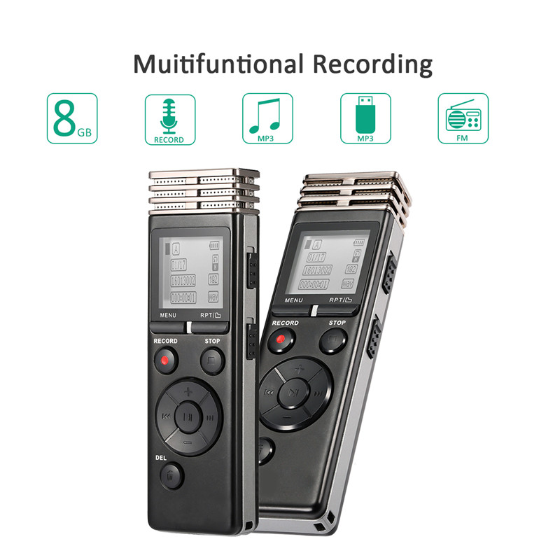Digital Voice Recorder 8gb with FM Radio MP3 play Repeat Function 72 Hours Mini Voice Recorder Professional Pen Voice Activated