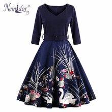 Nemidor High Quality Women 3/4 Sleeve Print Casual Party Swing Dress V-neck Autumn Plus Size Rockabilly Retro Dress