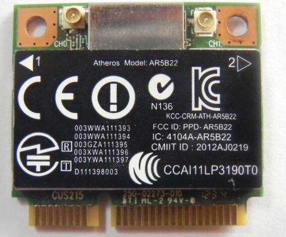Atheros AR9462 AR5B22 WB222 Demi Mini PCIe Carte Sans Fil 300 m + BT4.0 SPS: 676786-001 Pour hp 2170 p 4340 s 4441 s ordinateur portable