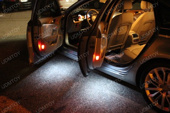 White Led Luggage Footwell Under Door