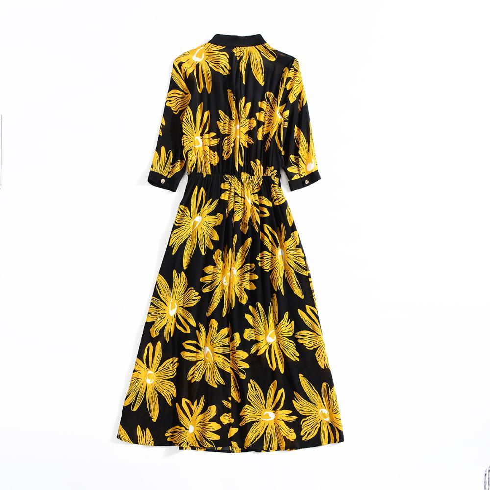 Européen Stand trimestre Mode Robe Manches Col Floral Printemps Nouveau Imprimé Style En up Cinq Femmes Américain 2019 Et Soie De B1rBq